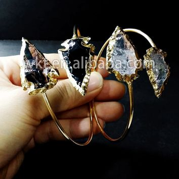 WT-B092 Hot sales!! Double crystal arrowhead bracelets in adjustable size, 24k gold electroplated arrow bangle