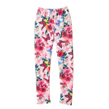 Girl's Butterfly Flower Print Leggings