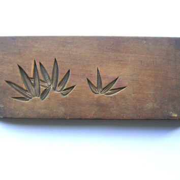 Vintage Japanese Kashigata Mold Double Sided Bamboo