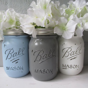 Painted and Distressed Ball Mason Jars- Light/Pale/Baby Blue, Gray and White-Set of 3-Flower Vases, Rustic Wedding, Centerpieces