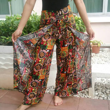 Pants Palazzo African Jamaicans Bob Marley Reggae Rasta Yoga Pants Print Native Hippie pants Gypsy Thai Dress Baggy Cloth Clothing Celebrity