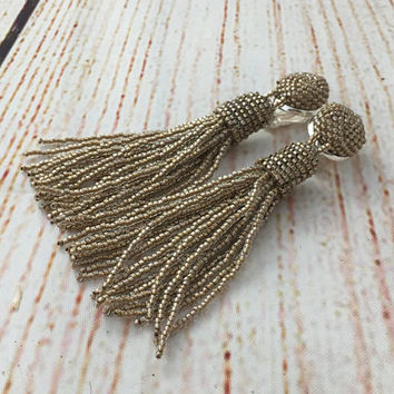 Taupe beaded tassel earrings, clip on earrings, wedding earrings, gifts for women, statement earrings,  tassle earrings, bridesmaids jewelry
