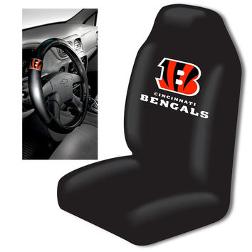 Cincinnati Bengals Car Seat Cover and Steering Wheel Cover Set