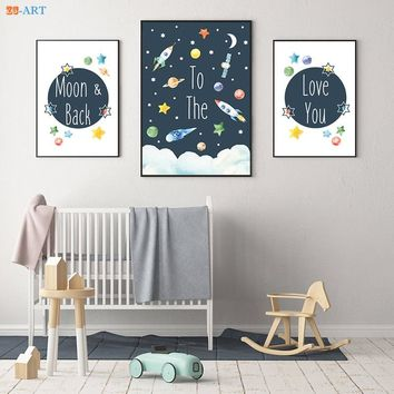 Mordern Canvas Painting Space Nursery Prints Space Themed Poster Wall Art Canvas Framed Kids Room Home Decoration