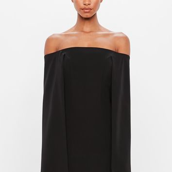 Missguided - Peace + Love Black Bardot Cape Tailored Mini Dress
