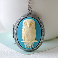 Large Owl Cameo Locket Necklace. Ivory Cream Owl Powder Blue Cameo Antique Silver Locket Necklace. Long Chain, Vintage Inspired