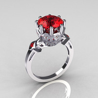 Modern Vintage 10K White Gold 3.0 Carat Red Ruby Princess Diamond Solitaire Wedding Ring R303-10WGDRR