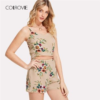 COLROVIE Random Split Self Tie Back Crop Cami Top With Shorts 2018 Summer New Floral Women Suits V Neck Two Piece Set
