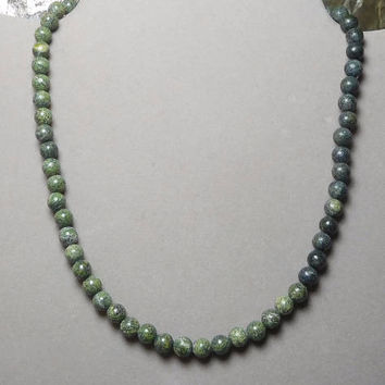 Green Choker Beaded Necklace Hippie Jewelry Mens Unisex 15 Inch Russian Serpentine 'new jade' Camouflage Surfer Style Snap Closure