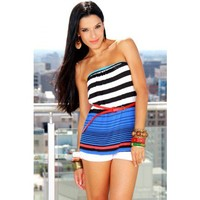 belted strapless stripe clubbing top - ♥ALL TOPS