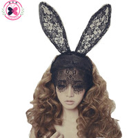 Haimeikang Acessorio Para Cabelo  Women Girl Hair Band Lace Sexy Rabbit Bunny Ears Veil  Party Headwear Hair Accessories Easter