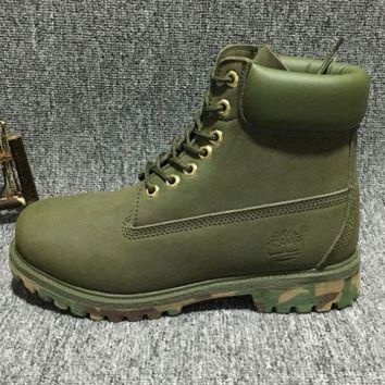 VLX85E Fashion Online Timberland Rhubarb Boots For Men And Women Shoes Waterproof Martin Boots Lovers Army Green-camouflage Soles