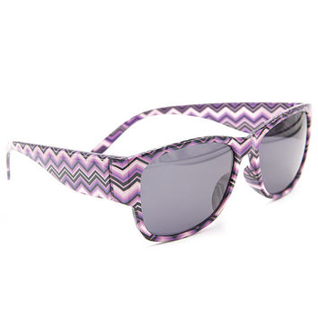 Purple Black Chevron Sunglasses Unisex Wayfarer Style Unique Glasses S001