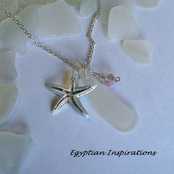 Sea glass necklace. Starfish necklace. Beach glass sea glass jewelry.