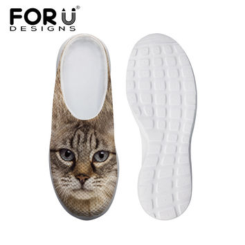 FORUDESIGNS Women Clogs Garden Shoes Cute Cat Face Sandals Breathable Women Mules Clogs High Quality Summer Slippers Woman Shoes