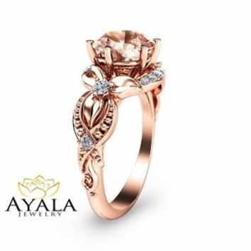 14K Rose Gold Morganite Filigree Ring-Rose Gold Engagement Ring-Filigree Engagem