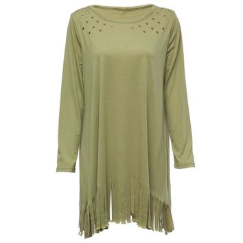 Fashionable Scoop Collar Long Sleeve Hollow Out Fringed Loose-Fitting Dress For Women