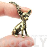 3D Detailed Chihuahua Animal Charm Dog Breed Themed Necklace in Brass
