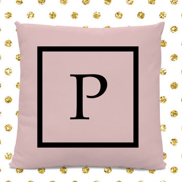 Initial Pillow - Letter Pillow - Pillow with Letter P - Monogrammed Pillow - Custom Throw Pillow - Pink Letter Pillow