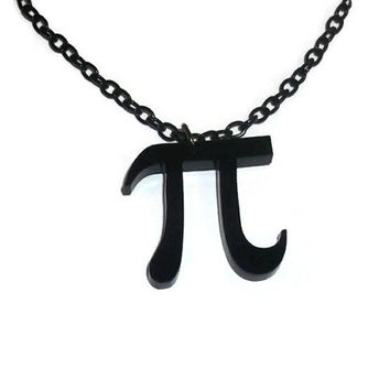Black Pi Necklace, Laser Cut Pendant, Math, Mathematics Pythagoras, Geeky Jewelry