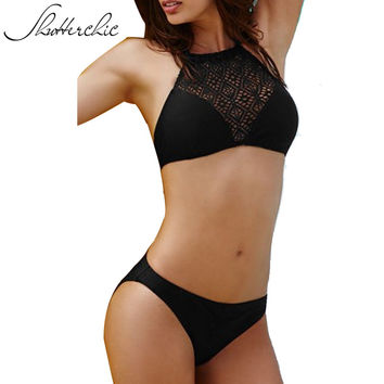 Shutterchic Mesh Crochet Bikini Set Black Crop Top Swim Wear High Neck Swimsuit Female Biquini 2017 Summer Beach Bathing Suits