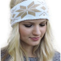 Snowflake Sweater Headband, Ivory