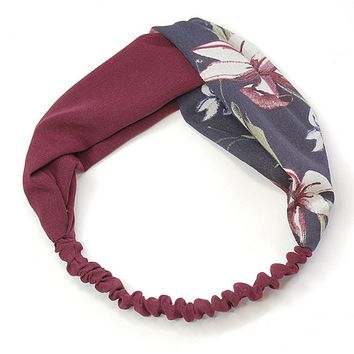 Fashion Retro Floral Fabric Headband in Maroon