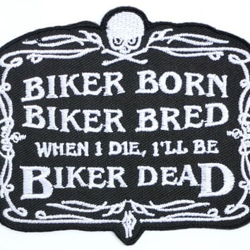"BIKER BORN Rockers Cafe Racer Iron On Embroidered Patch 3.5""/9cm"