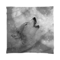 Dreamer of Dreams (Galaxy Wolf Howl Mono Version 2) Scarf / Mini Wall Tapestr created by soaringanchordesigns | Print All Over Me