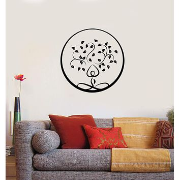 Vinyl Wall Decal Yoga Tree Leaves Zen Circle Buddhism Interior Art Stickers Mural (ig5857)