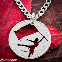 Color Guard necklace, cut in Quarter, hand cut coin by NameCoins