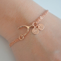 Dainty Rose Gold Personalized Wishbone Bracelet , Pink Gold Wishbone Bracelet , Bridesmaid Bracelet, Good Luck Bracelet, Christmas Gift