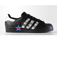 Crystal Glitter Black Adidas Originals Superstar Shoes