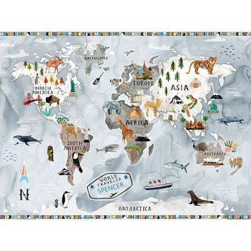 Watercolor Map - Bright Poster Decals