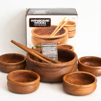 "NIB Vintage Teak Wood Salad Serving Set, ""Winsome Wood"" Wooden Serving Bowls with Salad Tossers, NEW condition"