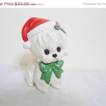 HALLOWEEN SALE Vintage Lefton X H7069 Christmas Dog White Maltese Dog with Santa Hat Japan Figurine