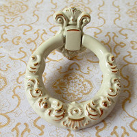 White Ring Drawer Pulls / Dresser Pull Knobs Handles Drop Circle / Cabinet Knob Handle Gold Flower Embossed Kitchen Furniture Hardware N01