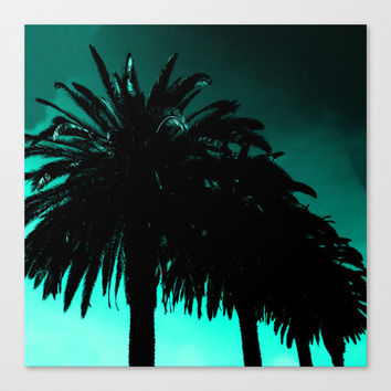Palm Trees Silhouette - Teal Sunset Canvas Print by Moonshine Paradise