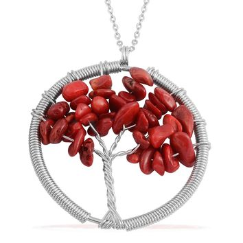 "Coral Stainless Steel Tree of Life Pendant and 27"" Chain"