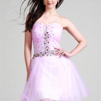 A-line Sweetheart Tulle Short/Mini Pink Rhinestone Homecoming Dress at dressestore.co.uk