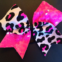 Cheer Bow - Hot Pink Sequin and Cheetah