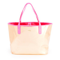 the everything tote - metallic rose gold + neon pink