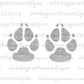 Printable Dog Paw Prints Digital Image Graphic Pet Dog Art Illustration Antique Art Download Vintage Clip Art Jpg Png Eps HQ 300dpi No.1210