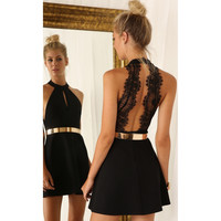Women Backless Sexy Dress White and Black Lace Sleeveless Dresses Slim Casual Short Dresses