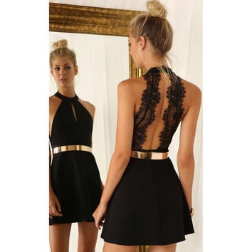Women Fashion Backless Sexy Dress White and Black Lace Sleeveless Dresses Slim Casual Mini Dress