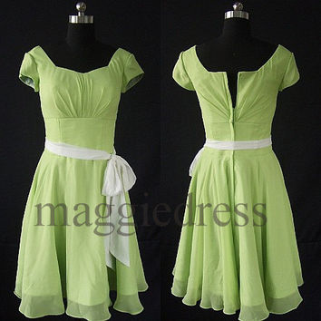 Custom Yellow Green Short Prom Dresess Bridesmaid Dresses 2014 Evening Gowns Formal Party Dresess Homecoming Dresses Party Dress Cheap Dress
