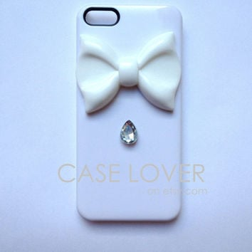 White Jeweled Couture iPhone 5 iPhone 4 4S Case