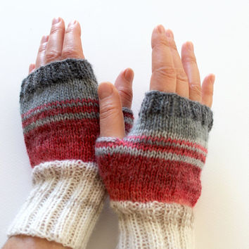 Dark Gray Arm Warmer Knitting Fingerless Gloves / Batik colors./ Cream and Pink. / Arm Mittens. / Valentines days. Spring fashion