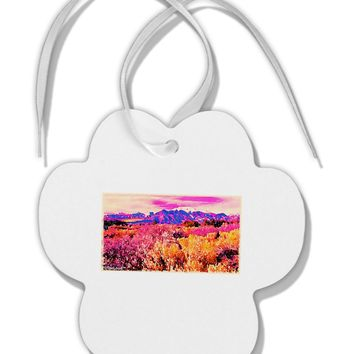 Colorful Colorado Mountains Paw Print Shaped Ornament by TooLoud