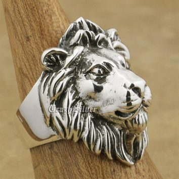 LINSION 925 Sterling Silver King Lion Ring Mens Biker Rock Punk Ring TA09 US Size 7~15